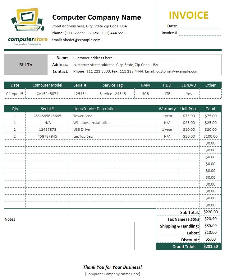 Professional Services Invoice Template And Free Service Invoice Template