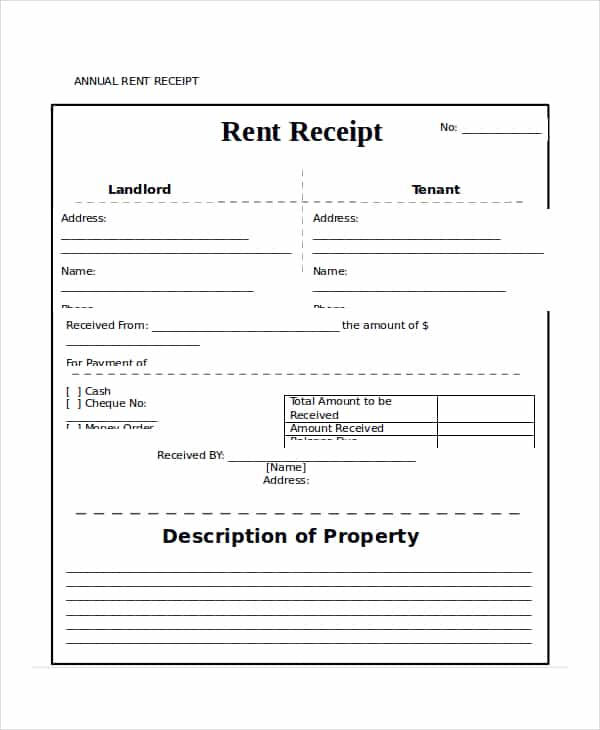 Rent receipt template doc and rent receipt template printable