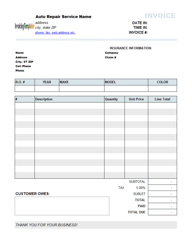 Sample of auto repair invoice and auto repair invoice template pdf