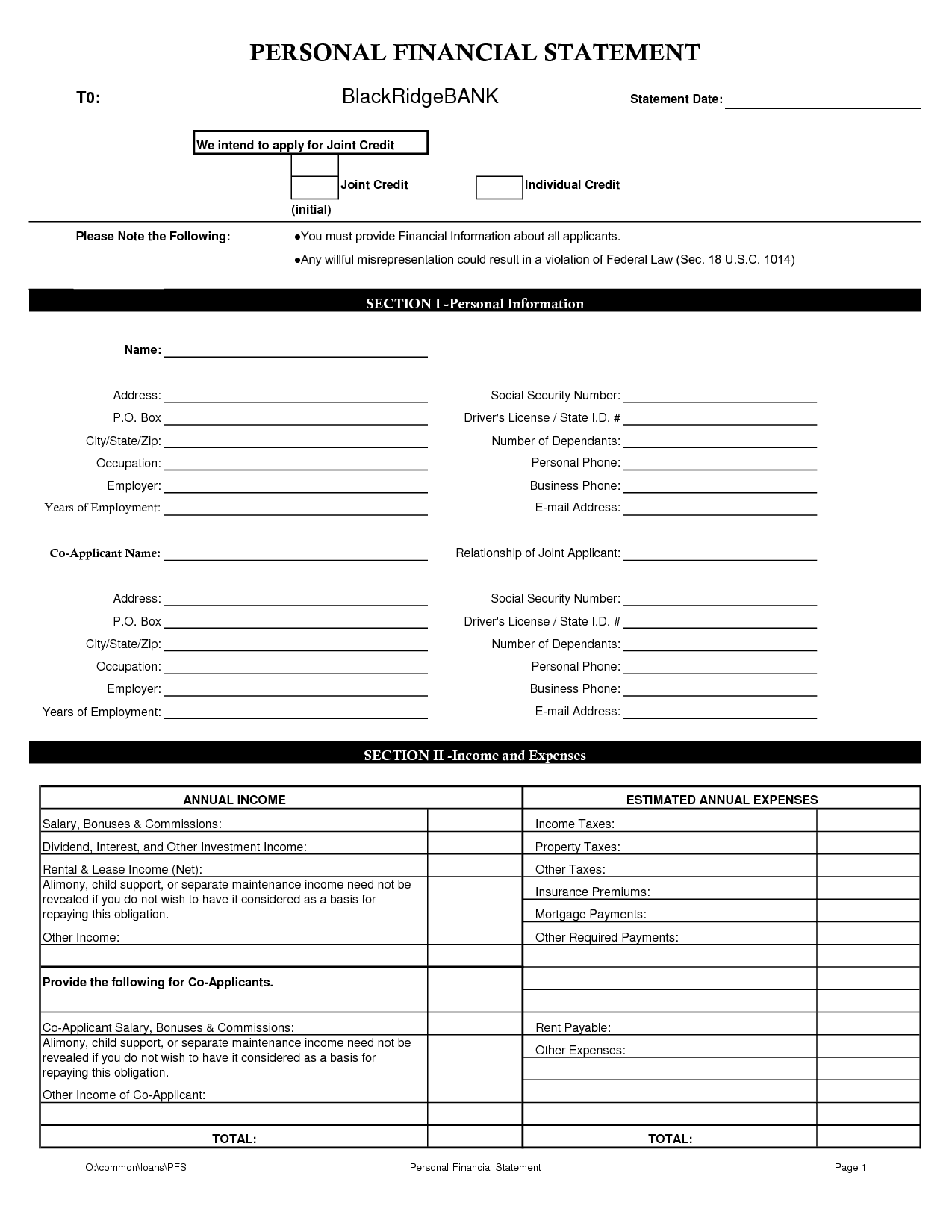 Sample Personal Financial Statement Template Word And Examples Of Personal Financial Mission Statements