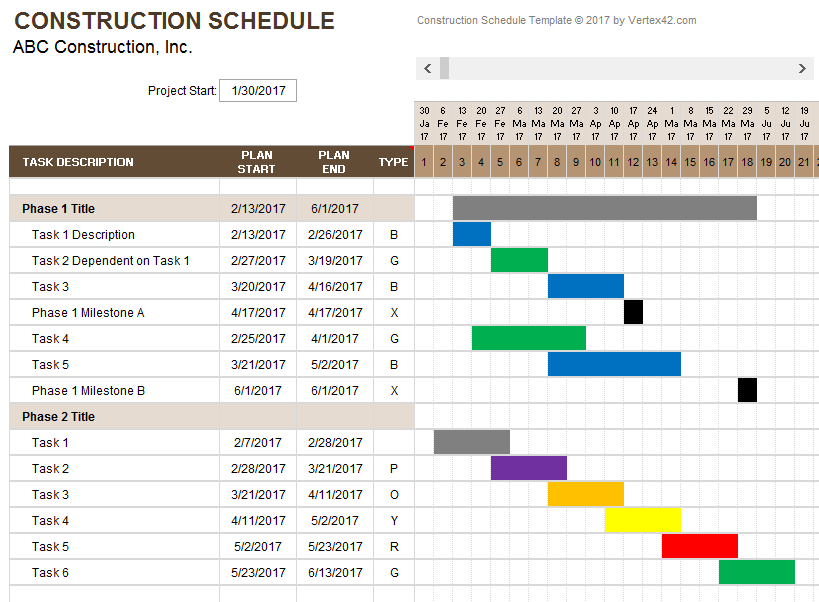 Sample Residential Construction Schedule And Residential Construction Template For Excel