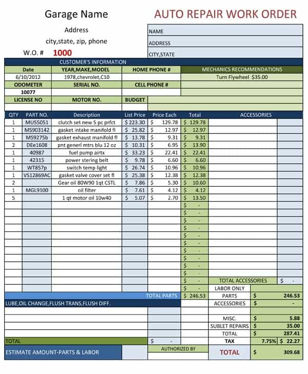 Auto Body Estimate Form Template And Auto Repair Estimate Template Free Downloads