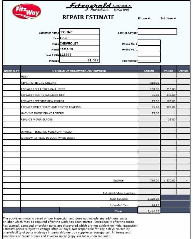 Auto Body Estimate Forms Free And Auto Service Estimate Template