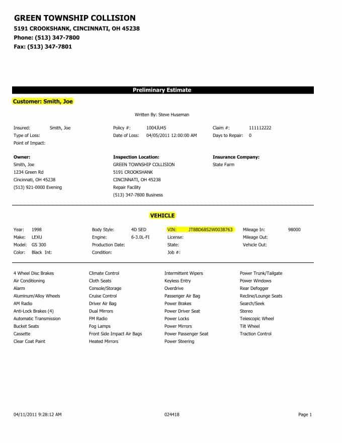 Auto Estimate Forms And Free Auto Body Estimate Template