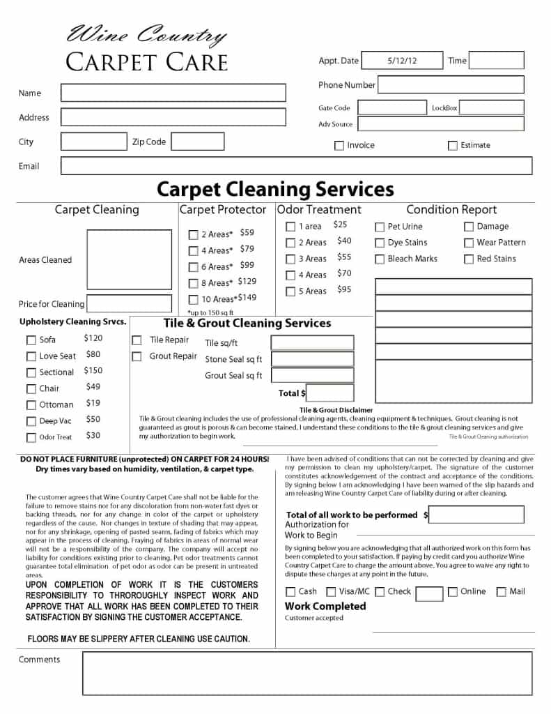 Carpet Cleaning Estimate Calculator And Carpet Cleaning Invoice Disclaimer