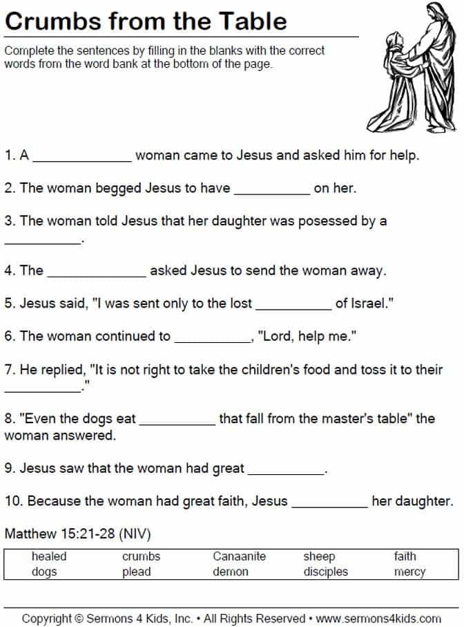 Childrens Bible Study Worksheets And Free Printable Sunday School Lessons For Youth