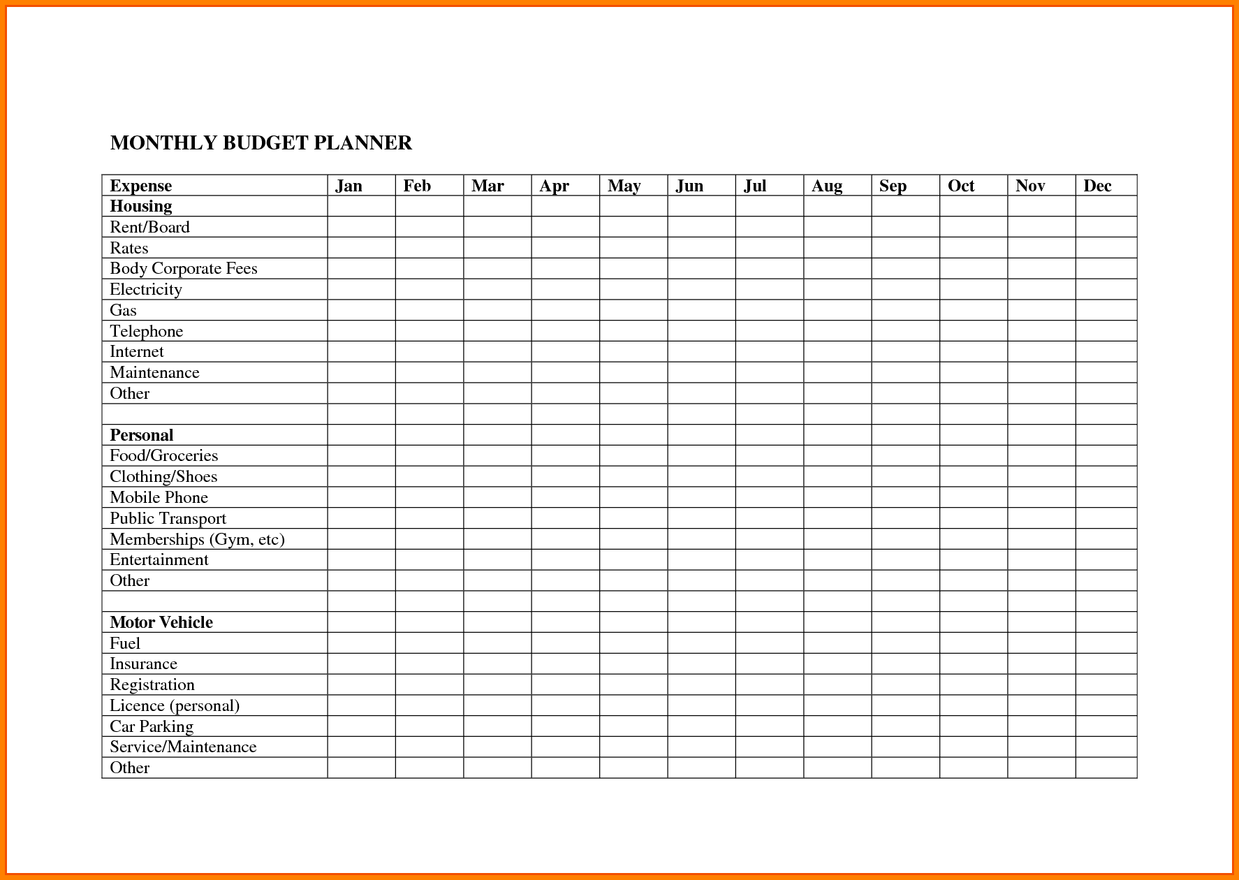 Free Bill Budget Template And Simple Budget Template