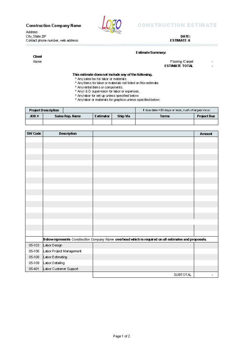 Free Construction Estimate Template Pdf And Excel Templates For Estimating