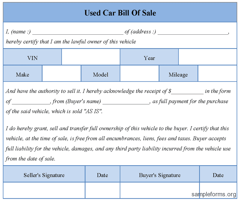 Free Used Car Bill Of Sale Template Ontario And Bill Of Sale For Used Car