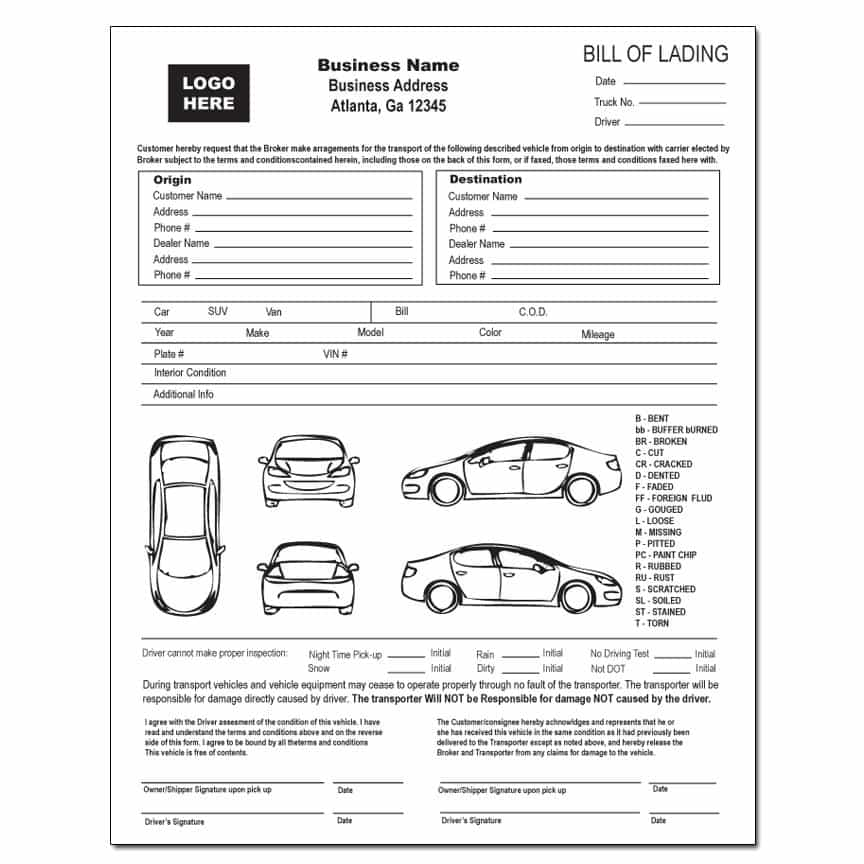 Free Vehicle Transport Bill Of Lading Form And Auto Bill Of Lading Form Free