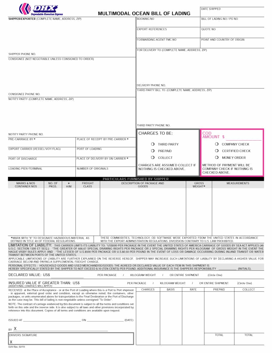 House Bill Of Lading Terms And Conditions Template And Blank Straight Bill Of Lading Short Form Pdf
