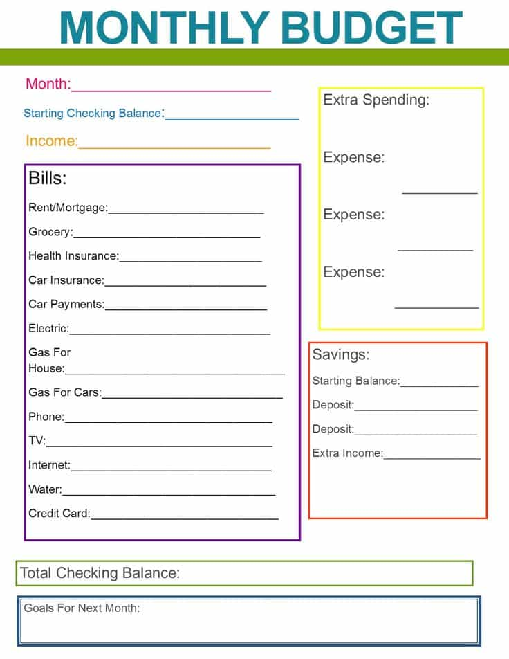 Monthly Bill Budget Template And Monthly Bill Budget Template