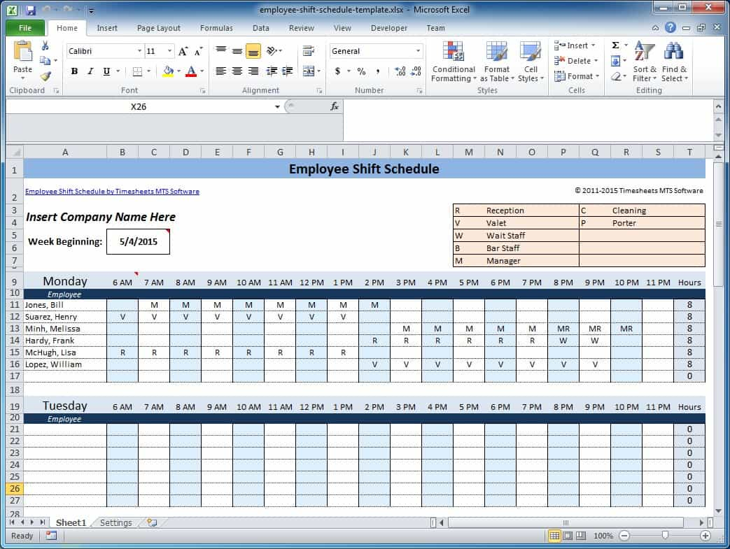 Project Scheduling Excel Template And Free Weekly Employee Work Schedule Template