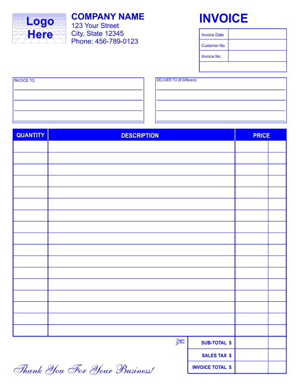 Small Business Invoice Template Free Uk And Blank Invoice Template Free