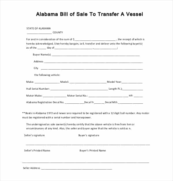 Alabama Bill Of Sale Jefferson County And Generic Bill Of Sale Form