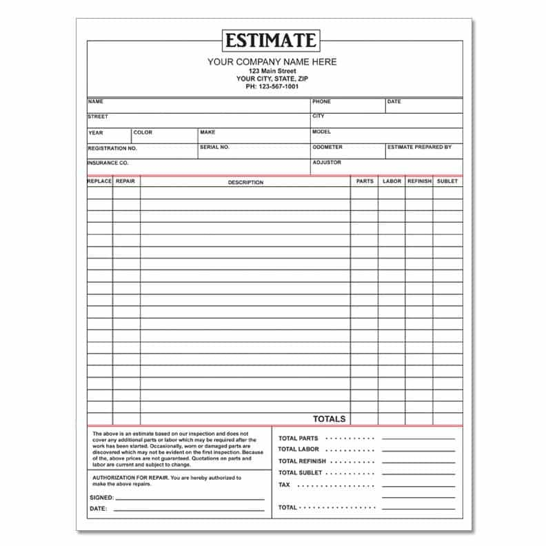 Auto Body Repair Estimate Form Pdf And Automotive Repair Quotes