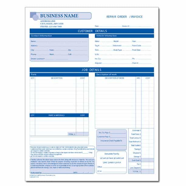 Auto Body Shop Repair Estimate Form And Free Printable Auto Repair Invoice Template