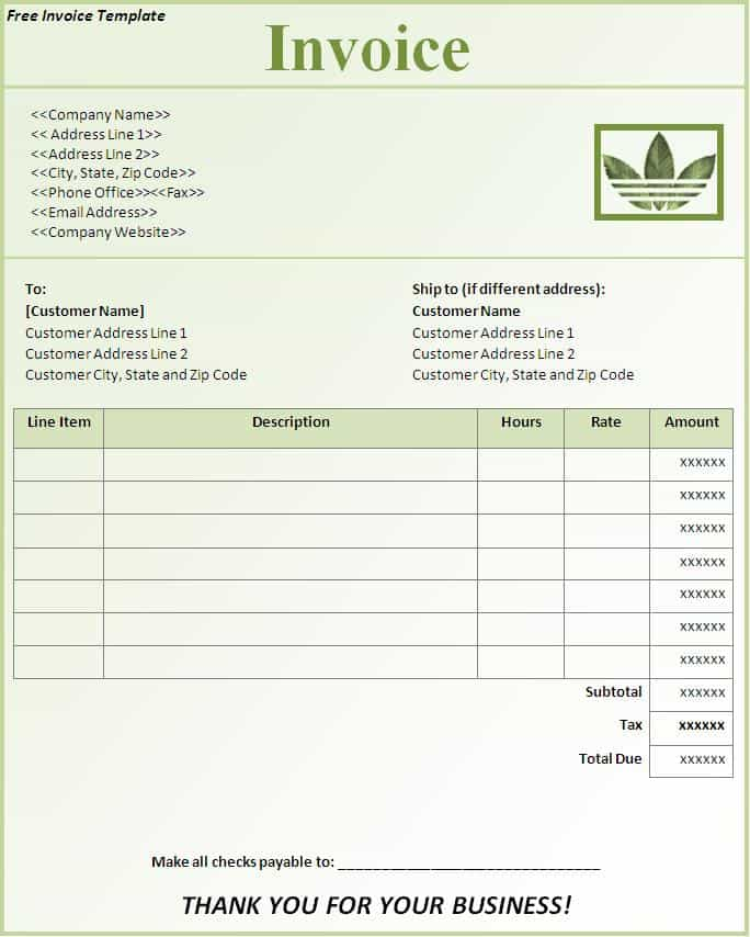 Bill Invoice Template Word And Bill Invoice Format In Word