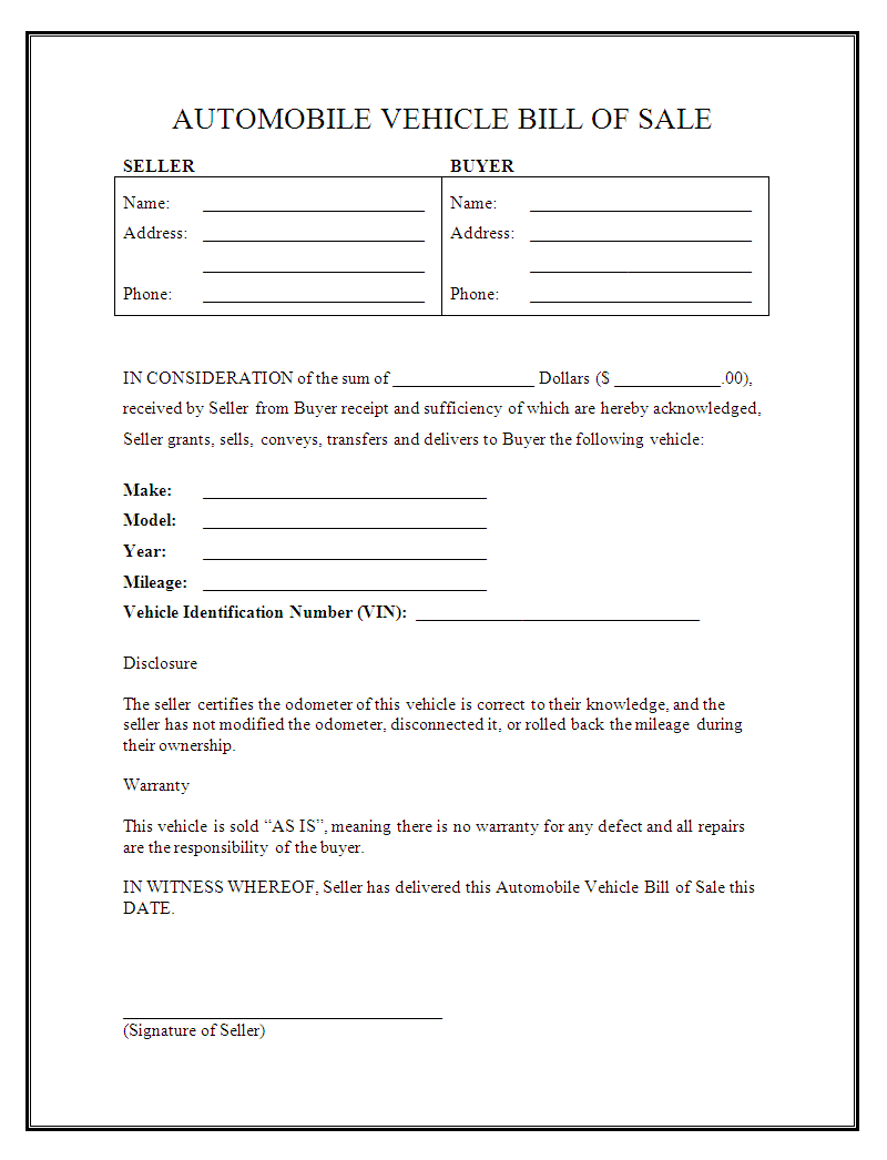 Bill Of Sale Agreement Template And Car Sale Agreement Word Doc