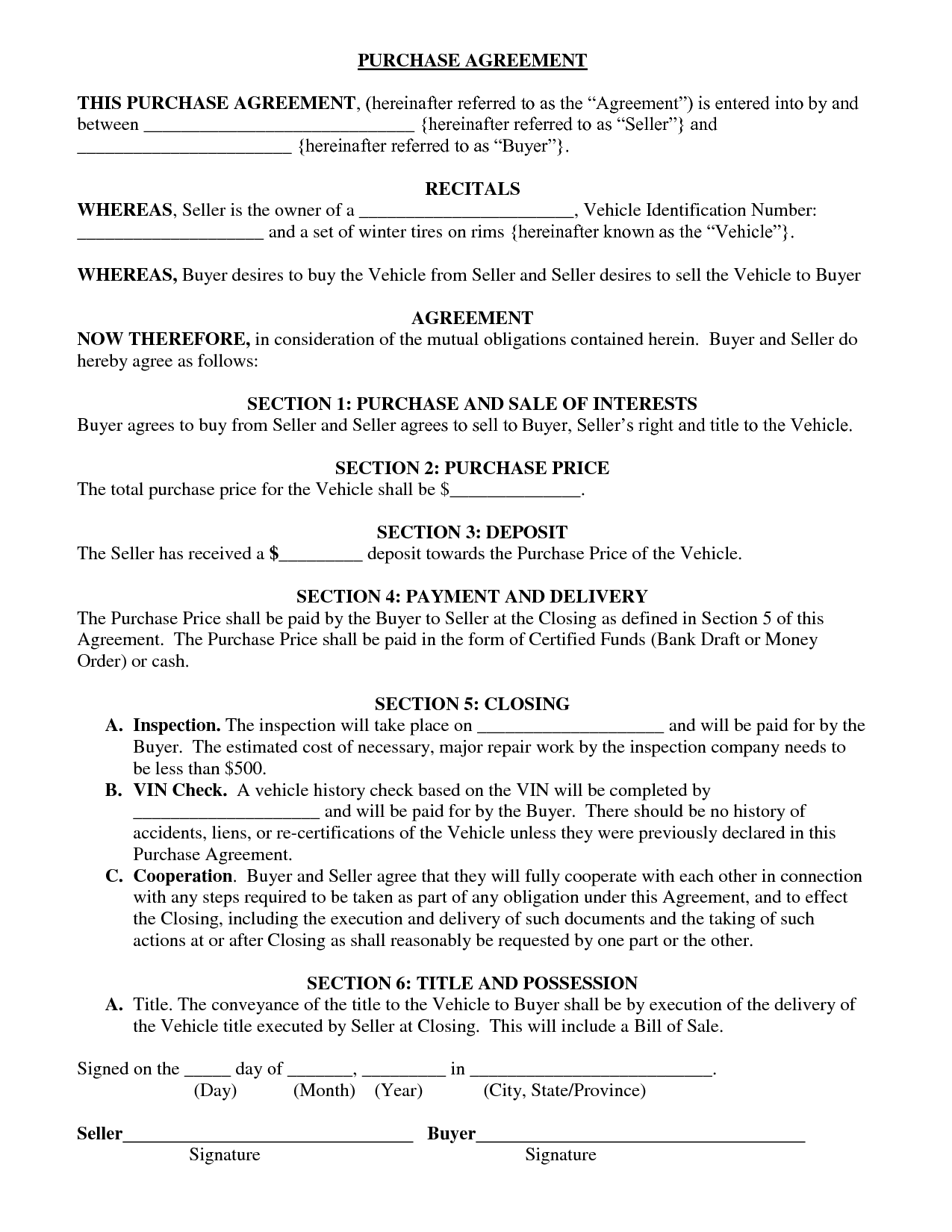 Bill Of Sale Purchase Agreement Template And Vehicle Bill Of Sale Template Fillable Pdf