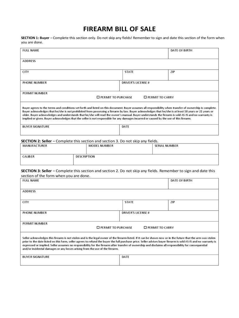 Bill Of Sale Template Firearm Virginia And Bill Of Sale Pdf