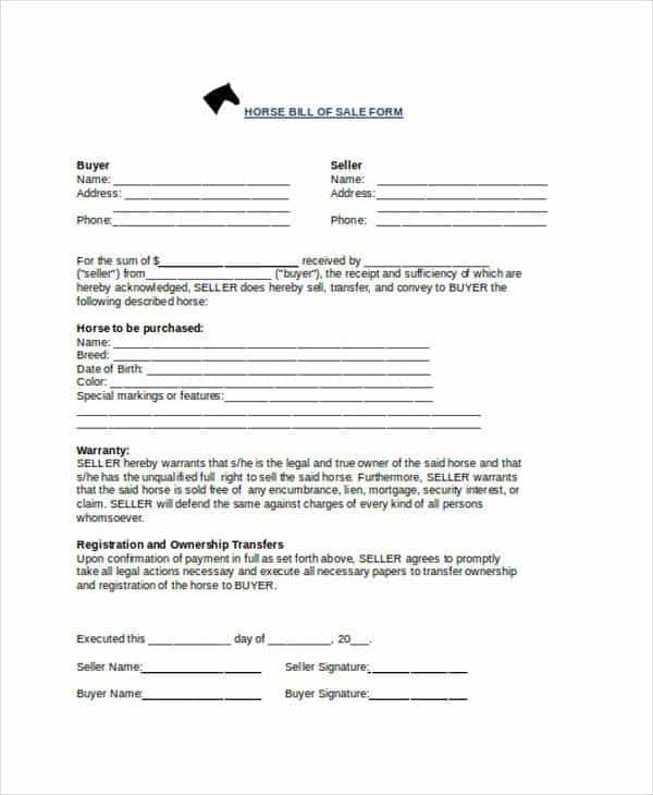 Bill Of Sale Template For Horse And Horse Bill Of Sale Template Uk