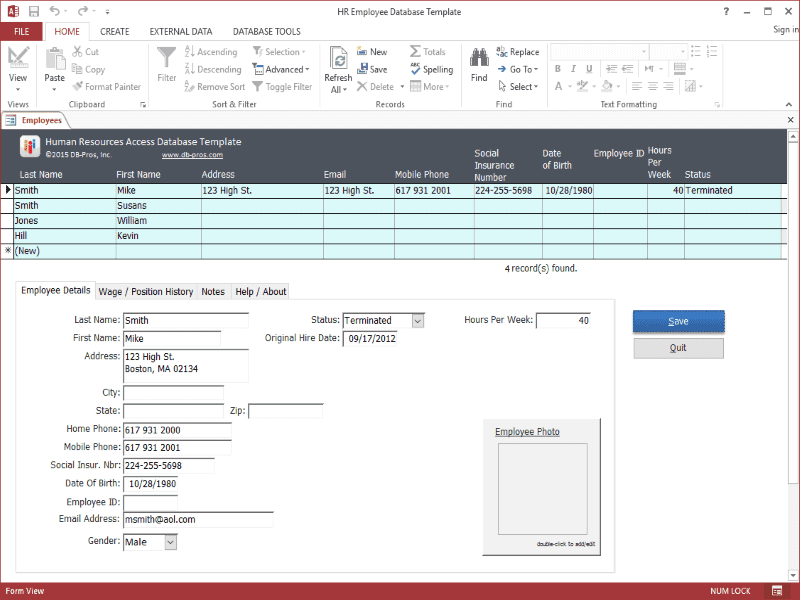 Employee Database Excel Template And Applicant Tracking Spreadsheet Download Free
