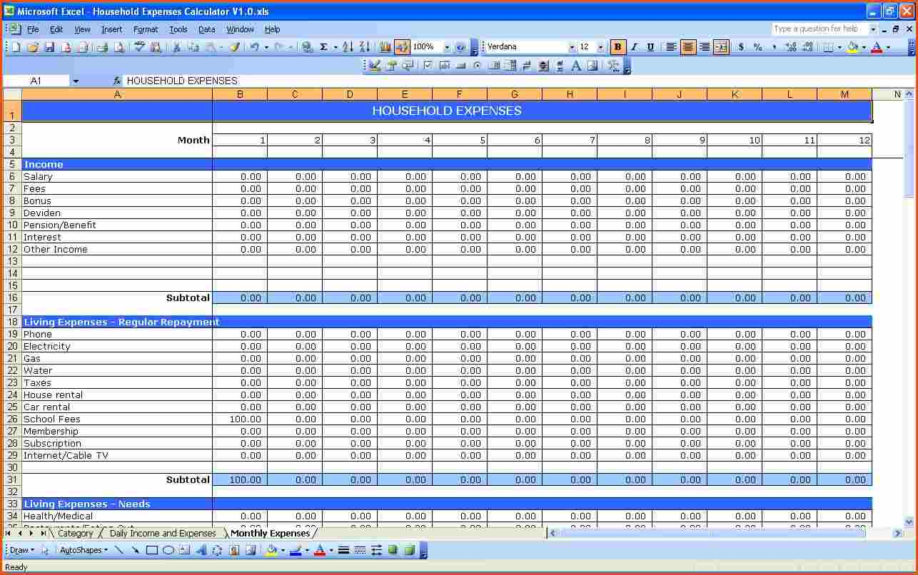 Excel Template Expenses And Income And Excel Budget Template Personal
