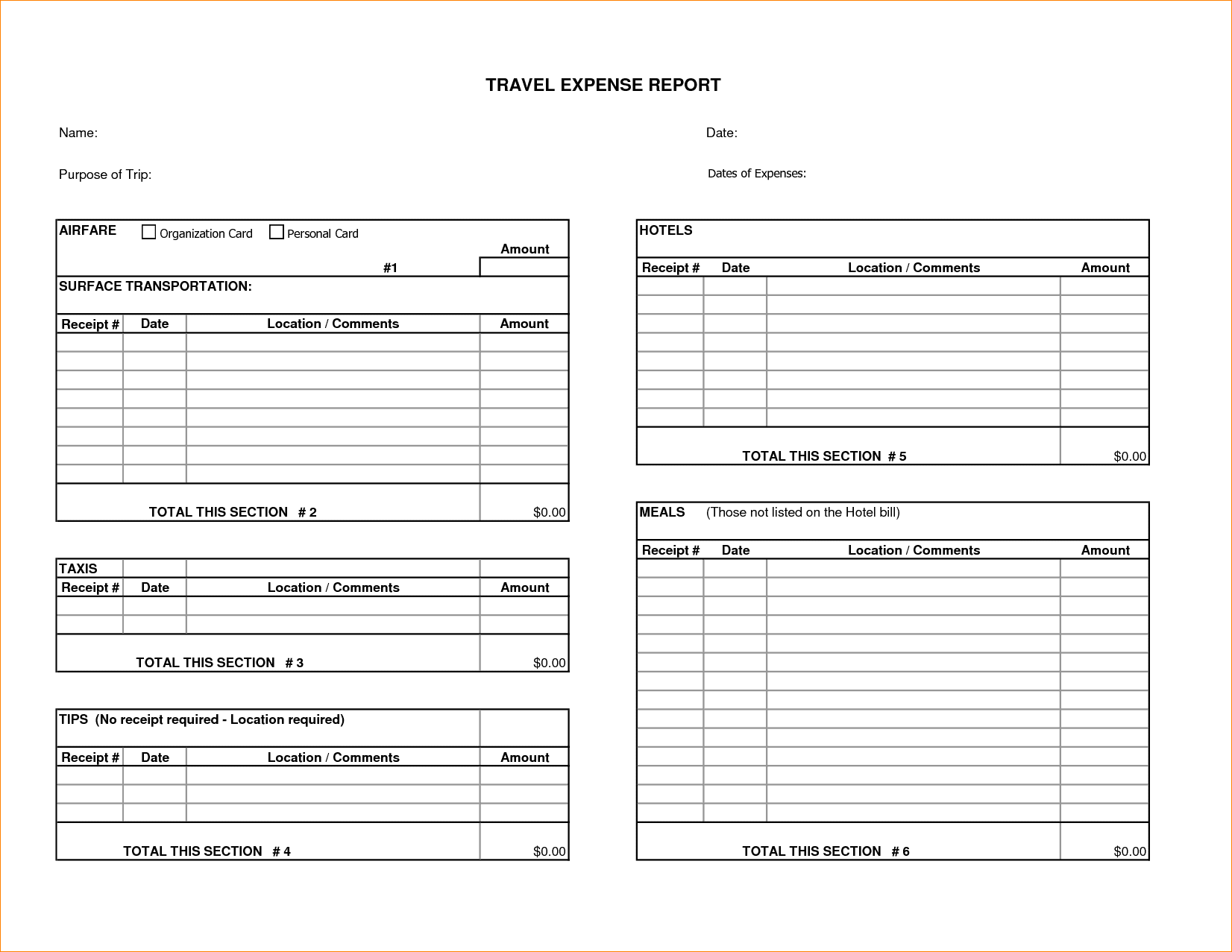 Free Expense Reports Templates Pdf And Free Online Expense Report