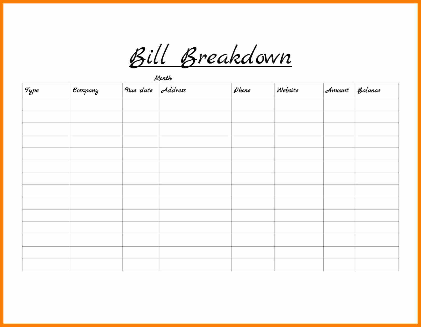 Free Monthly Bill Organizer Template And Monthly Bill Spreadsheet Template Free Excel