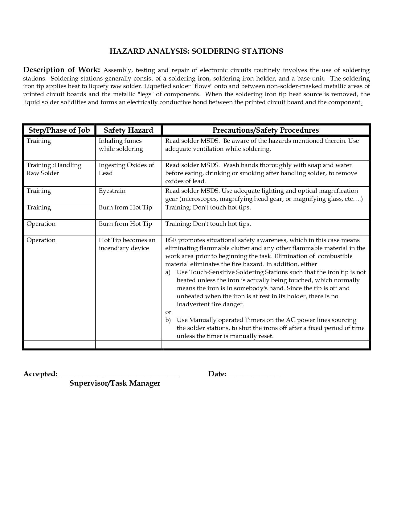 Haccp Worksheet Example And Daily Hazard Analysis Worksheet