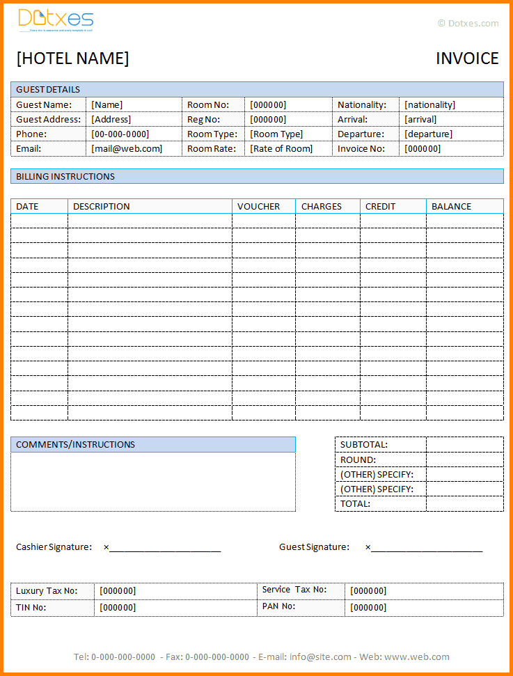 Hotel Bill Invoice Format In Word And Free Printable Invoice Templates
