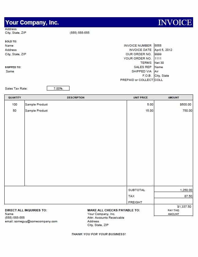 Invoice Template For IT Services And Simple Invoice Template Free
