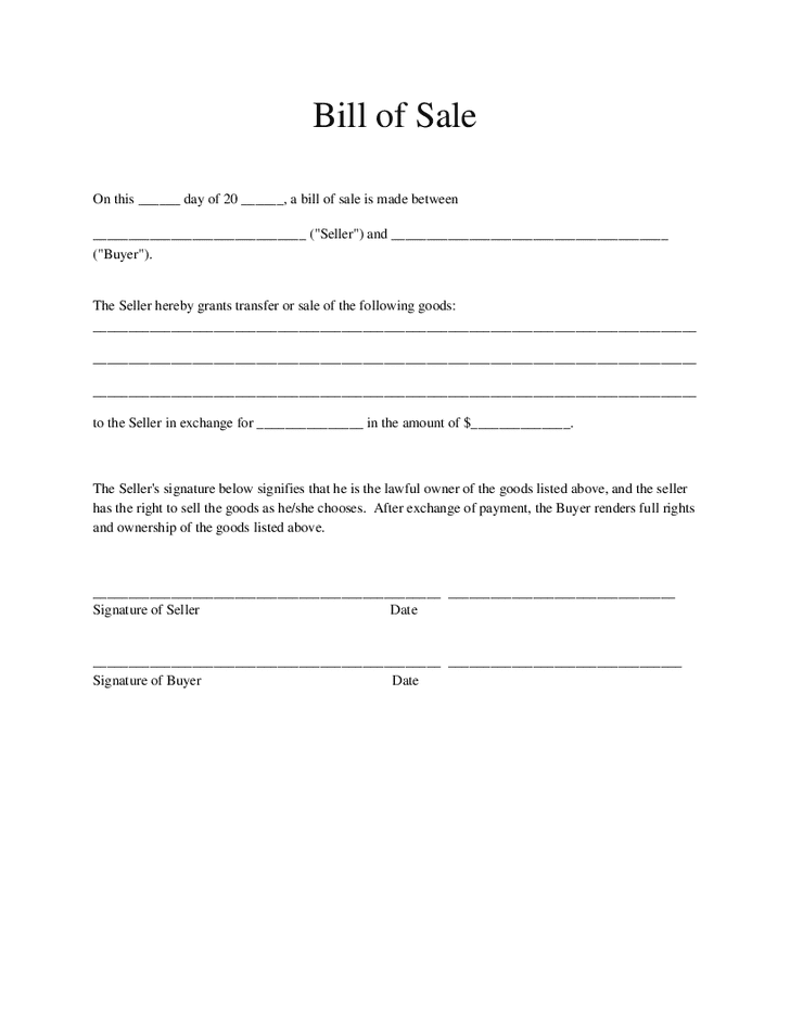 Notarized Bill Of Sale Template For Car And Bill Of Sale For Car Nc Template