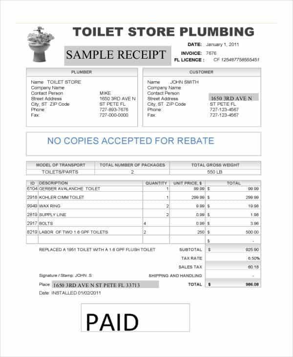 Plumbing Receipt Template And Plumbing Business Software