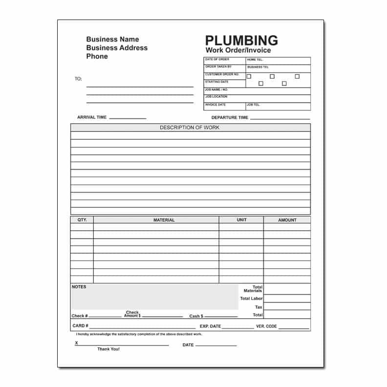 Plumbing Service Invoice And Plumbing Work Order Invoice