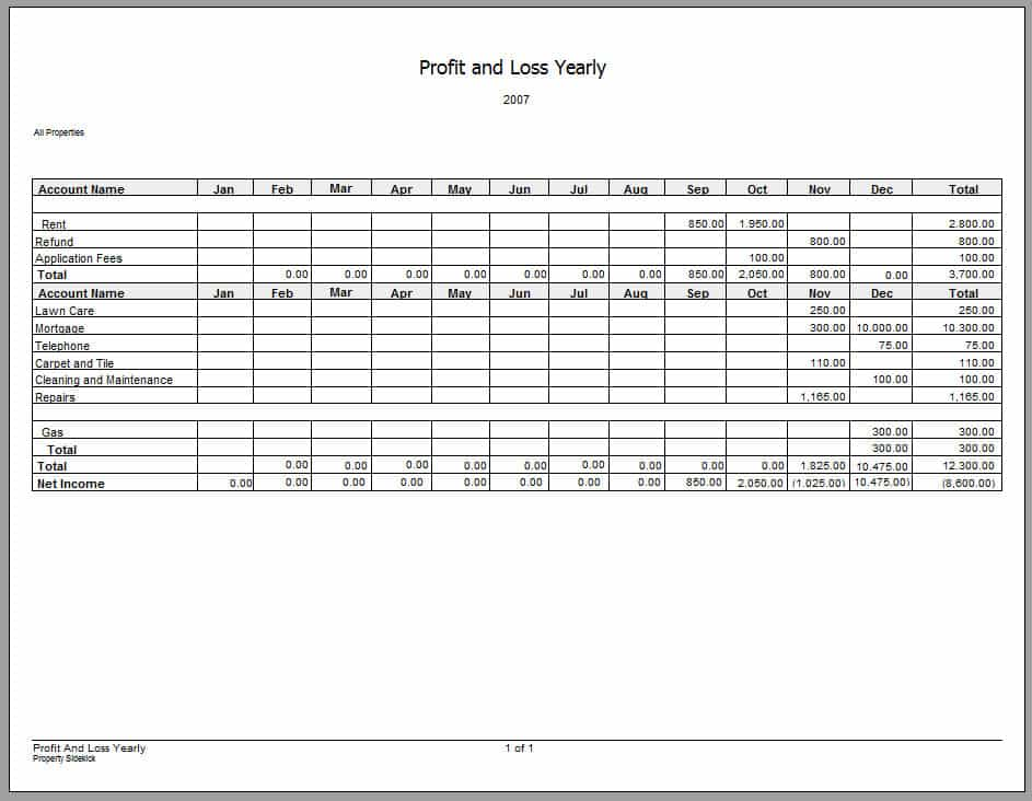 Profit And Loss Template Google Docs And Trading And Profit And Loss Account