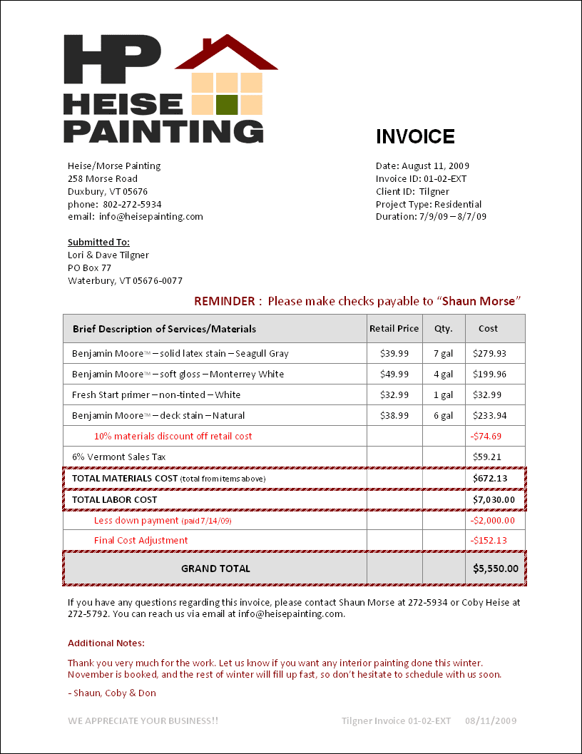 Sample Of Painting Invoice And Invoice For Painting Job