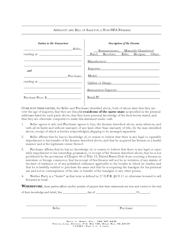 Virginia Gun Bill Of Sale Template And Bill Of Sale Example