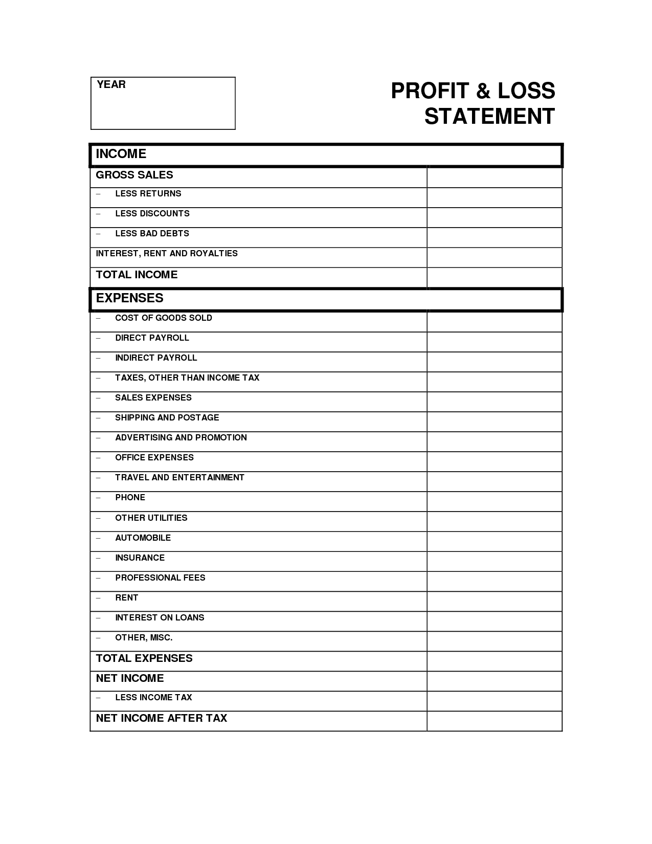 Free Profit And Loss Statement Template And How To Create A Profit And Loss Statement In Excel