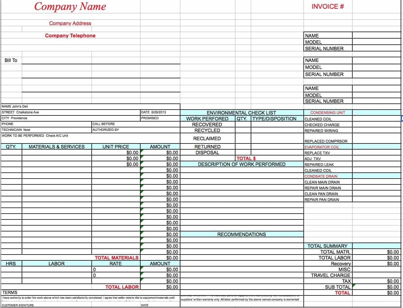 Lawn Service Invoice And Landscaping Invoice Sample