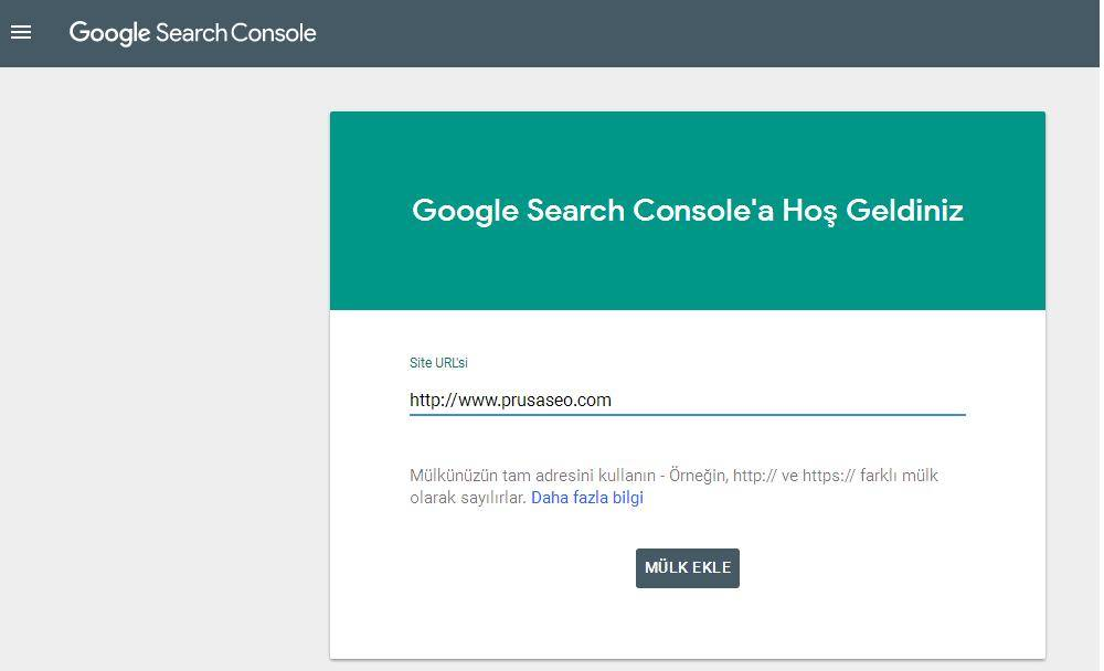 Google Search Console Mülk Ekleme