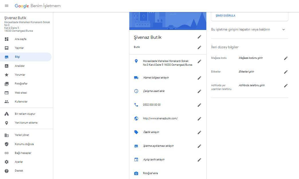 Google Benim İşletmem Bilgi Düzenlemesi