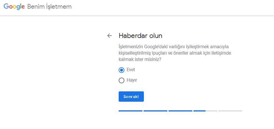 Google Benim İşletmem Haberdar Olun
