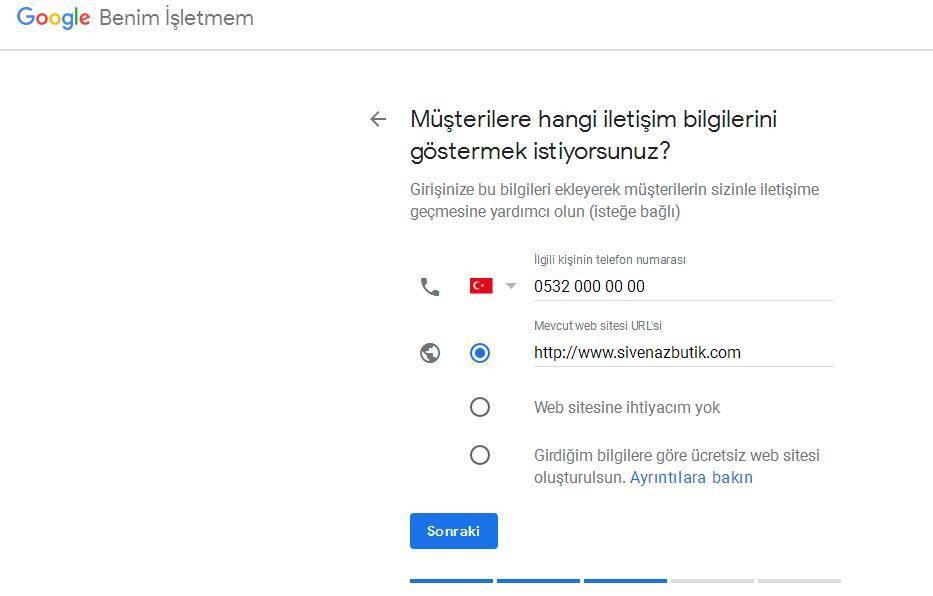 Google Benim İşletmem İletişim Bilgileri