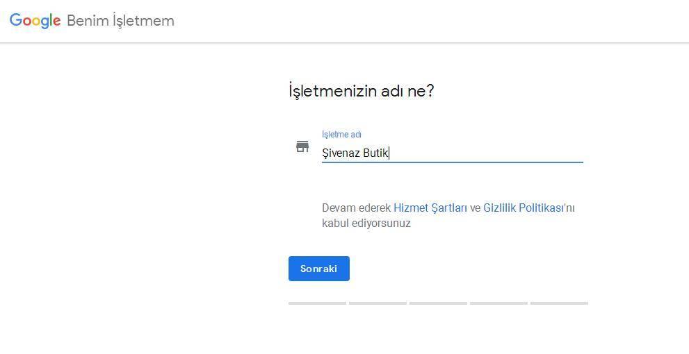 Google Benim İşletmem İşletmenizin Adı Ne