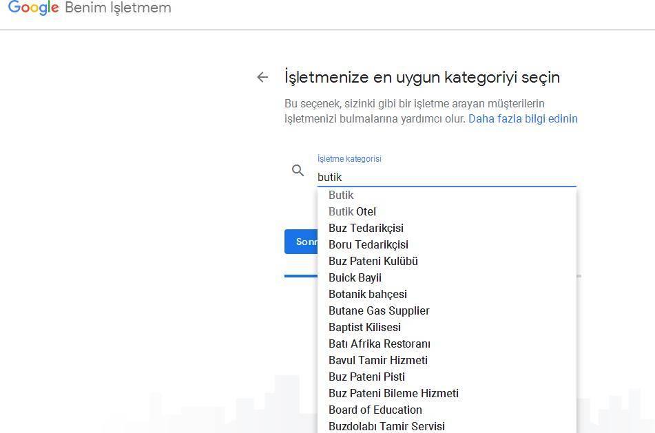 Google Benim İşletmem Uygun Kategori Seçimi