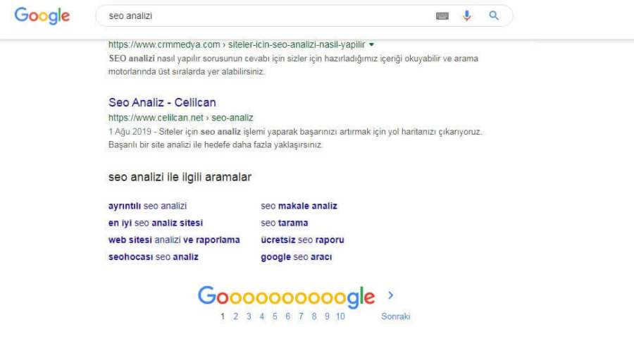 Google Sonuç Sayfası Kelime Analizi