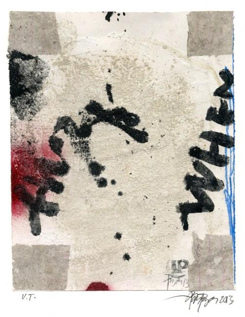 """Lars Pryds: """"Uden Titel"""" (fire hjørner), 2013. Acryl/collage på papir, 28 x 23 cm."""