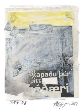 """Lars Pryds: """"Blönduós Have More Fun, Island #8"""", 2014. Gouache, kridt, collage på papir. Ca. 15,5 x 12 cm. PRIVAT EJE"""